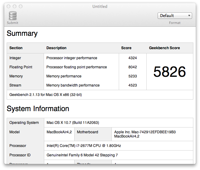 Geekbench MacBook Air 13